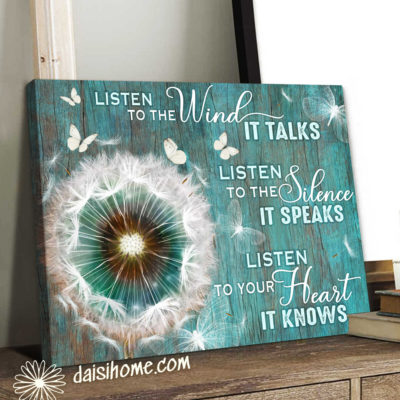 Hippie Style Canvas Wind Silence Heart White Dandelion