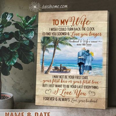 Personalized Anniversary Gift Top 5 Wall Art Canvas To My Wife Walking On The Beach