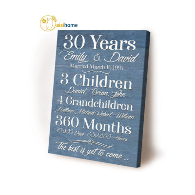 Wedding Anniversary Wall Art Canvas 30 Years The Best Is Yet To Come  DAISIHOME