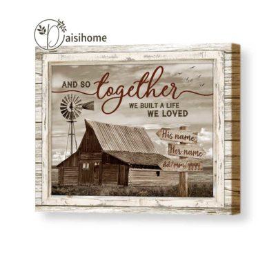 personalizef farmhouse couple canvas