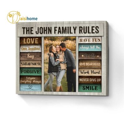 Personalized Family Rules Wall Art Canvas Love One Another Say Please And Thank You