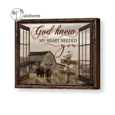 Faux Window Wall Art Canvas God Knew My Heart Needed You Gift For Couples
