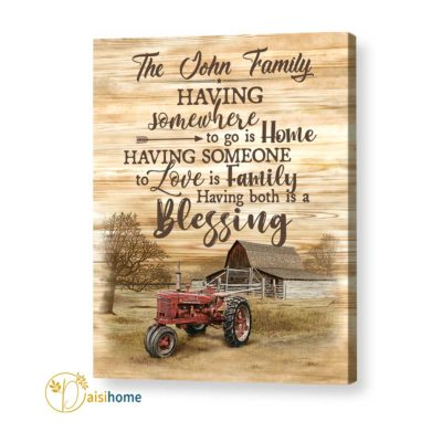 Personalized Farmhouse Wall Art Canvas Having Somewhere To Go Is Home